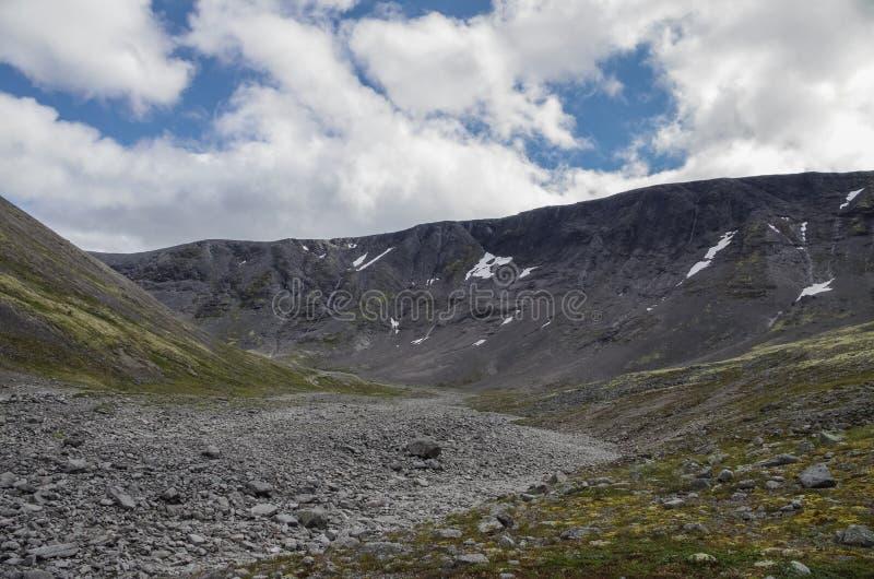 Tundra della montagna con i muschi e le rocce coperti di licheni, Hibi fotografia stock libera da diritti
