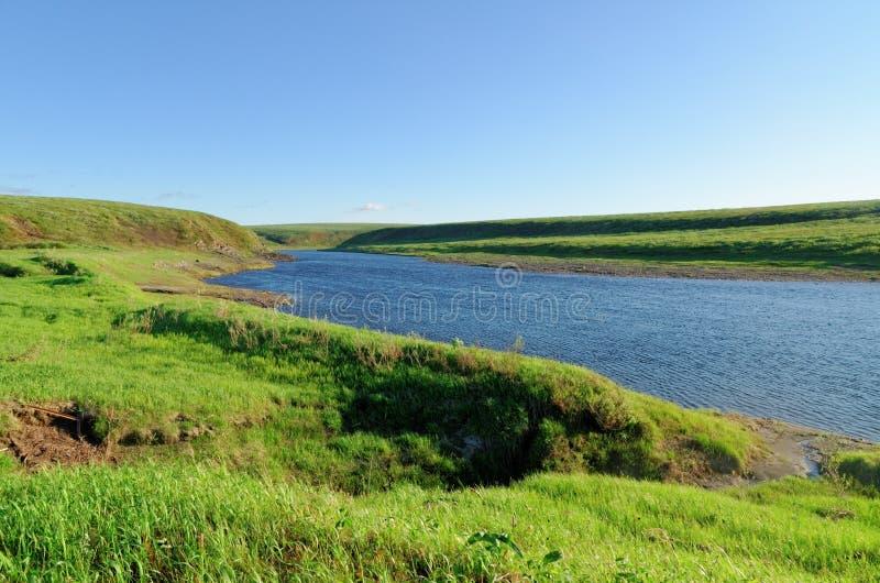 Tundra Landscape. Beautiful summer tundra landscape in Russian Arctic zone. Vorkuta, Komi republic, Vorkuta river stock image