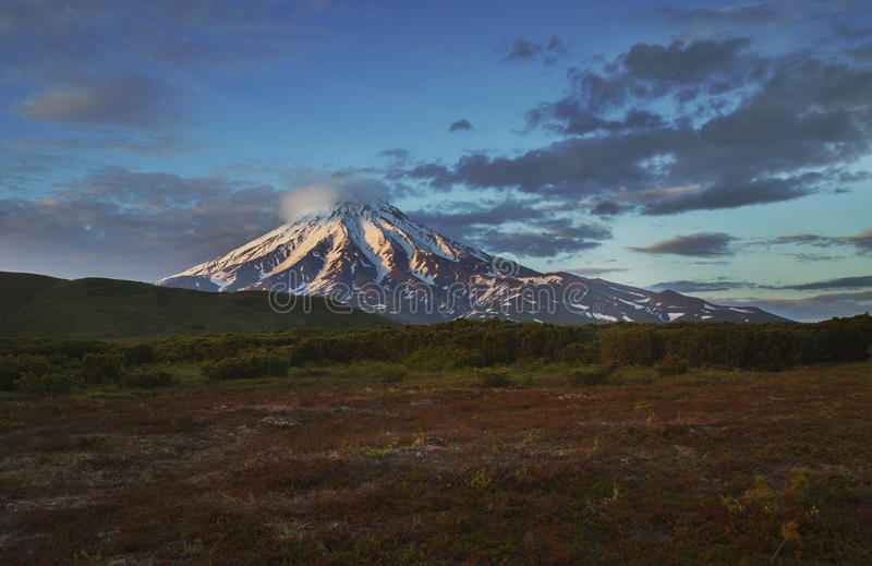 Tundra, volcano, sunset. Tundra against a volcano on Kamchatka, sunset royalty free stock images