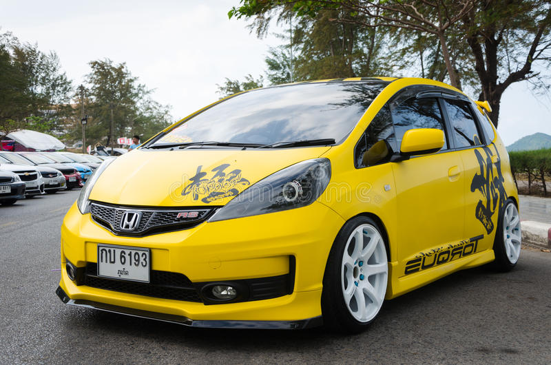 Tuned car Honda jazz. SONGKHLA, THAILAND - March 09 : Tuned car Honda jazz in Songkhla Car Club Show 2014 at Samila beach on March 09,2014 in Songkhla, Thailand stock images