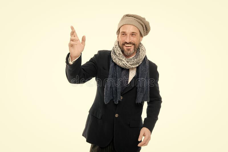 Tuned in fashion. Fashion man  on white. Happy mature man in autumn style. Bearded man wear cozy fashion outfit royalty free stock images