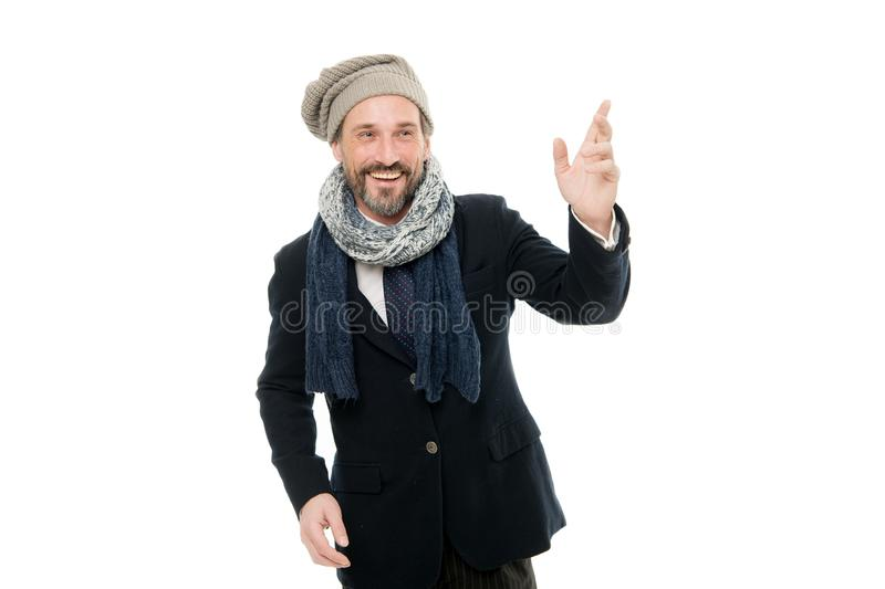 Tuned in fashion. Fashion man isolated on white. Happy mature man in autumn style. Bearded man wear cozy fashion outfit stock photo
