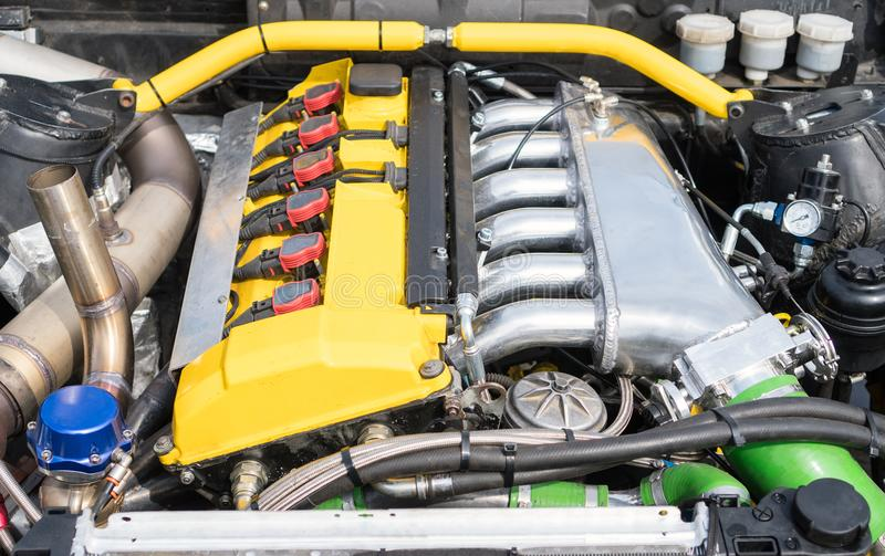 NOS in car trunk. Tuned turbo nitrous oxide engine in car royalty free stock photos
