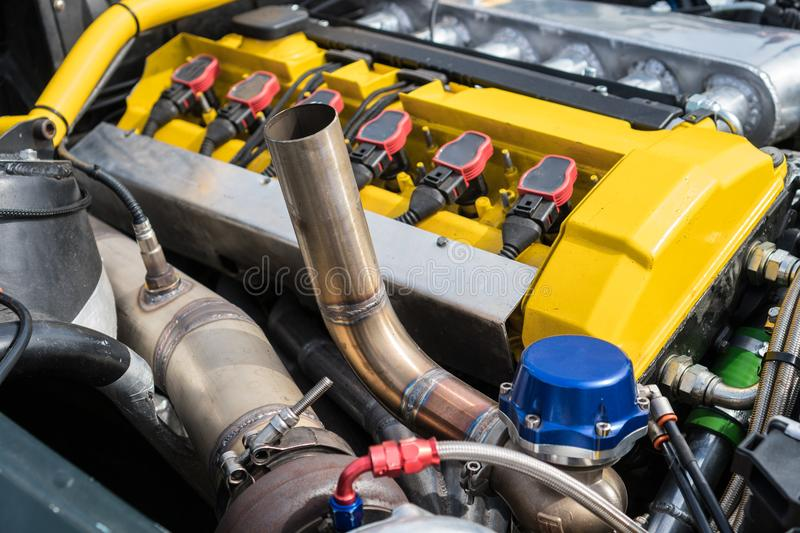 NOS in car trunk. Tuned turbo nitrous oxide engine in car royalty free stock photography