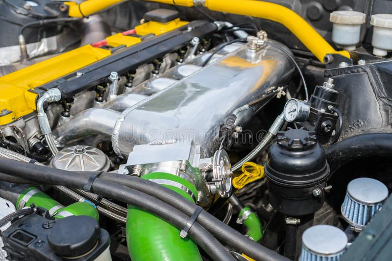 NOS in car trunk. Tuned turbo nitrous oxide engine in car royalty free stock photo