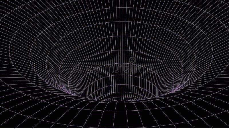 tunel abstrakcyjne Wektorowy wormhole 3D korytarza siatka ilustracji