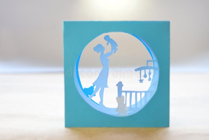 Tunel ksi??ka Sk?ad r??ny tunnelbook 3D kartki z pozdrowieniami matek dzień Nowo?ytny 3d origami papieru sztuki styl obrazy stock