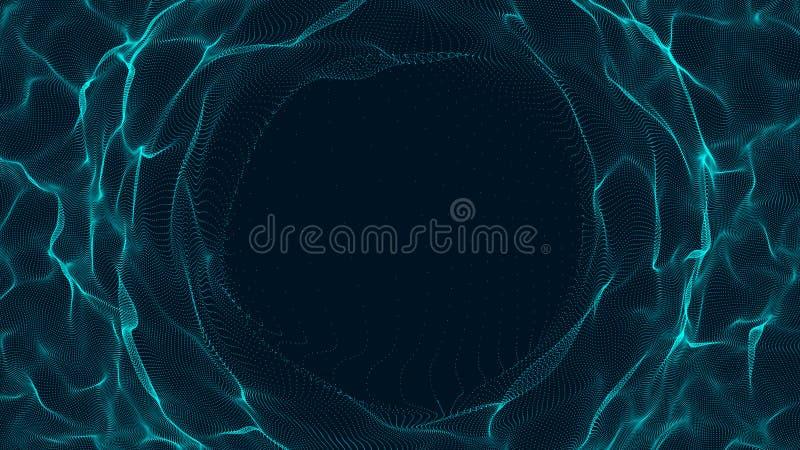 Tunel lub wormhole Abstrakcjonistyczna sfera, sk?ada si? punkty Czasoprzestrze? portal ?wiadczenia 3 d ilustracja wektor