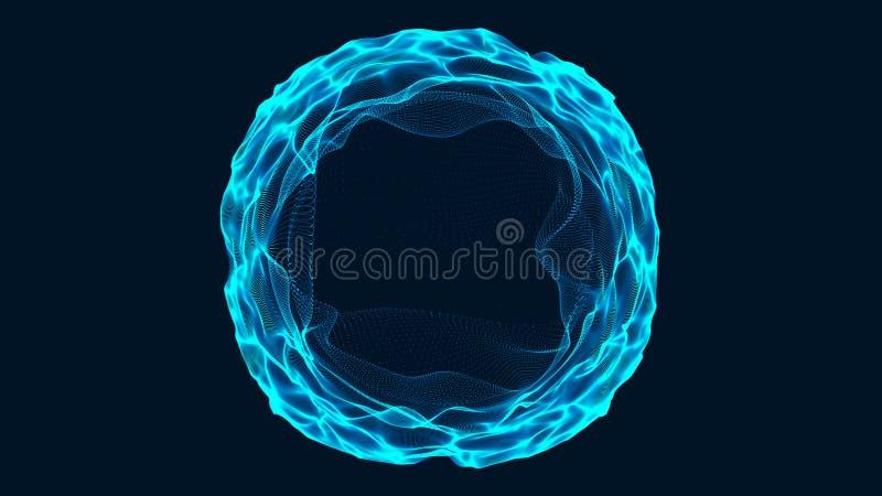 Tunel lub wormhole Abstrakcjonistyczna sfera, sk?ada si? punkty Czasoprzestrze? portal ?wiadczenia 3 d ilustracji
