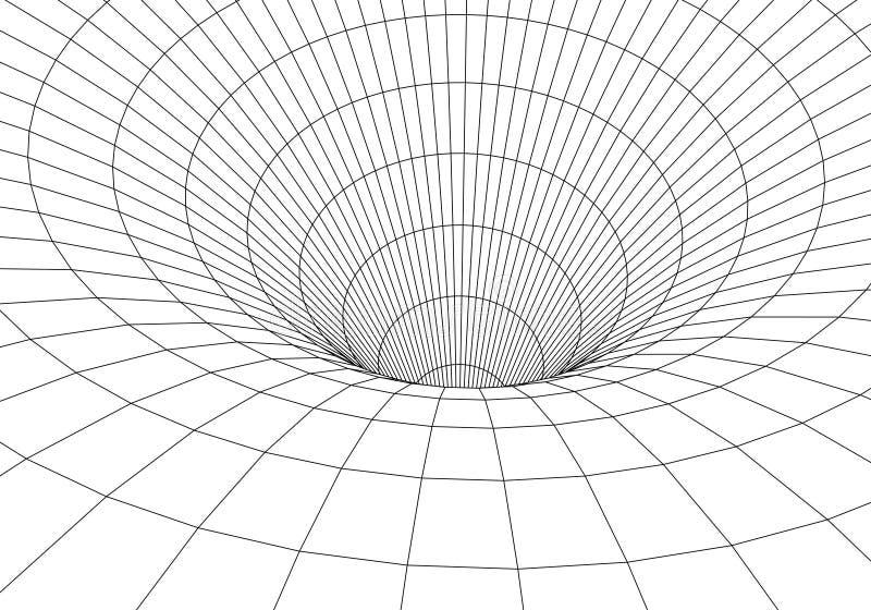 Tunel lub wormhole Cyfrowego 3d wireframe tunel 3D tunelu siatka Sieci cyber technologia nadrealizm T?o abstrakta wektor royalty ilustracja