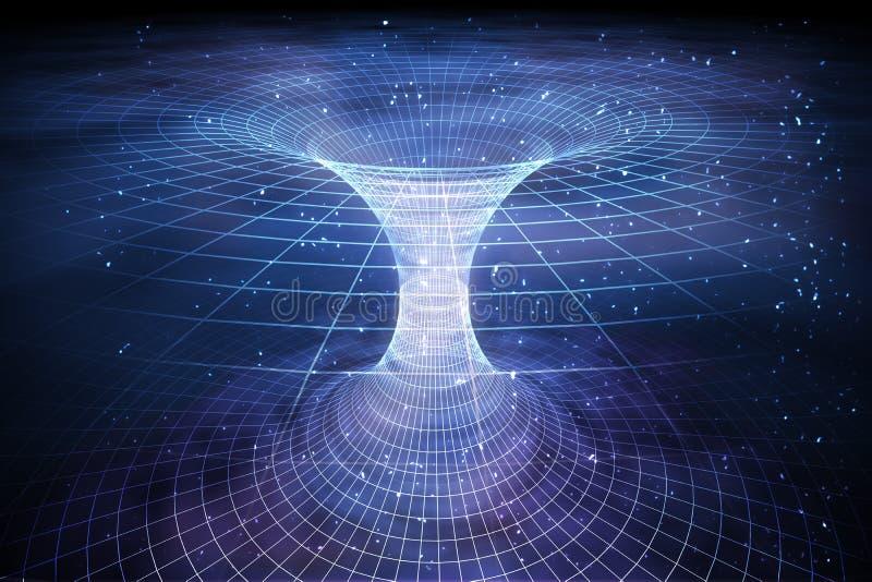 Tunel lub wormhole nad wyginającym się spacetime Podróżować w astronautycznym pojęciu ilustracja wektor