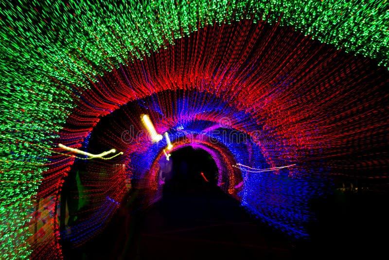 Tunel neonowy światło w nowym roku obraz royalty free