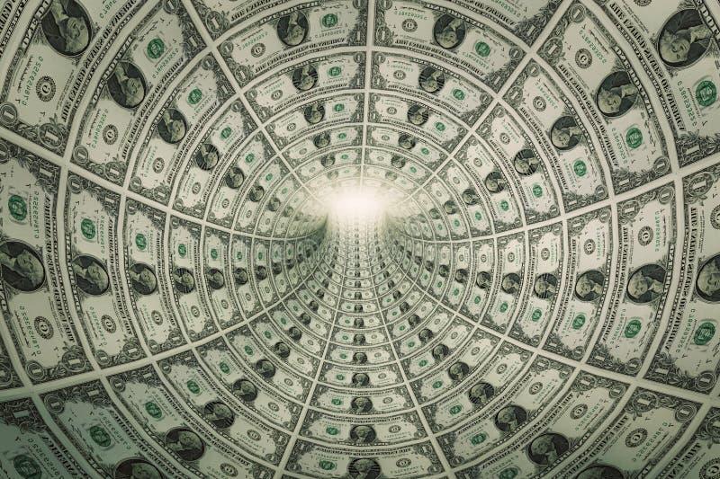 Tunel pieniądze, dolary w kierunku światła fotografia royalty free