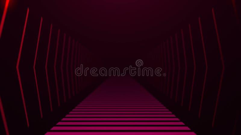Tunel z neonowym światłem w przestrzeni, abstrakcjonistyczny komputer wytwarzający tło, 3D odpłaca się royalty ilustracja