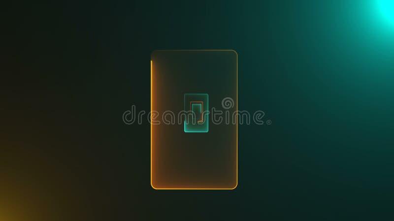 Tunele z neonowymi drzwiami z jaskraw? iluminacj? s? w przestrzeni, 3d komputer wytwarzaj?cy t?o royalty ilustracja