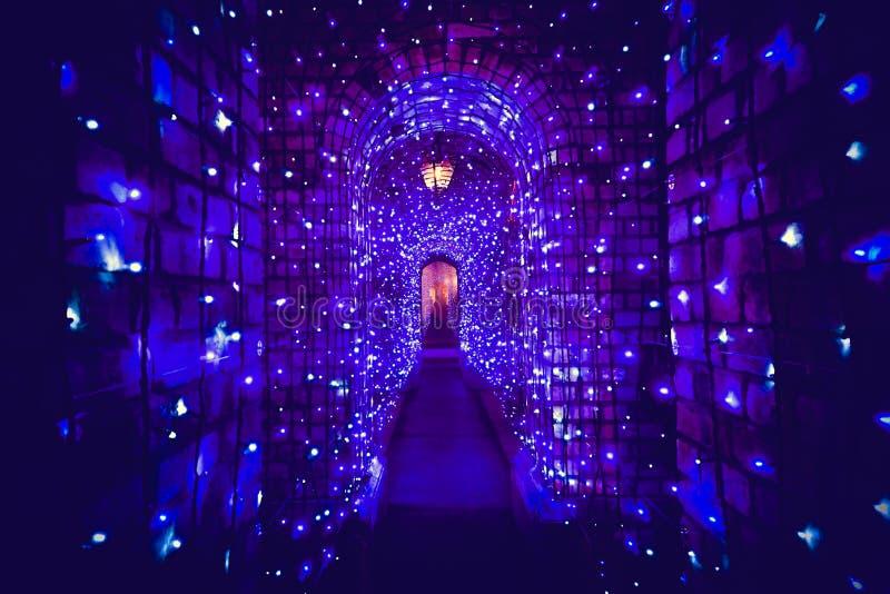Tunelu światło w święto bożęgo narodzenia obraz stock