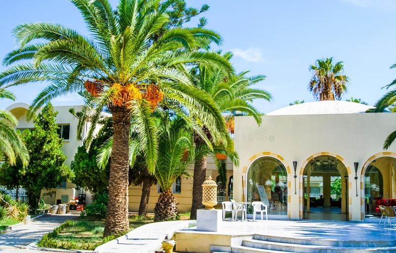 tunesië De zomer van 2015 Het hotel Marhaba in een groene oase op de kust van de Middellandse Zee royalty-vrije stock fotografie