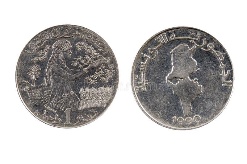 Tunesië 1 dinar, 1990 royalty-vrije stock afbeelding