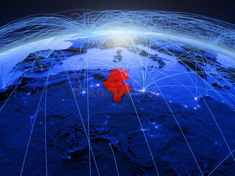 Tunesië op blauwe digitale aarde met internationaal netwerk die mededeling, reis en verbindingen vertegenwoordigen 3d royalty-vrije stock foto's