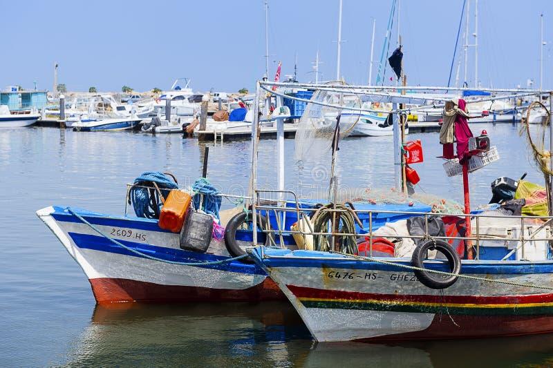 tunesi? Djerbaeiland Houmt Souk Vissers haven stock foto
