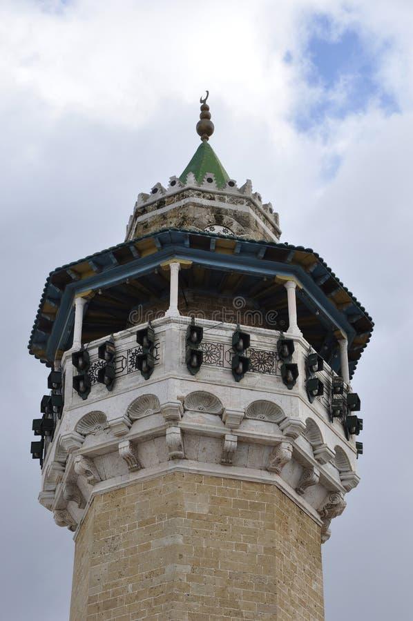Tunesia: El Minarett de la mezquita de Ez-Zitouna en Túnez imágenes de archivo libres de regalías