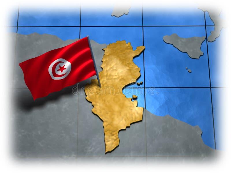Tunesien-Land mit seiner Markierungsfahne lizenzfreie abbildung