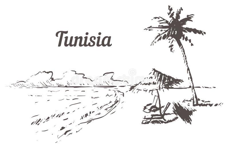 Tunesien-Skylinehand gezeichnet Skizzenart-Vektorillustration Tunesiens Palm Beach stock abbildung
