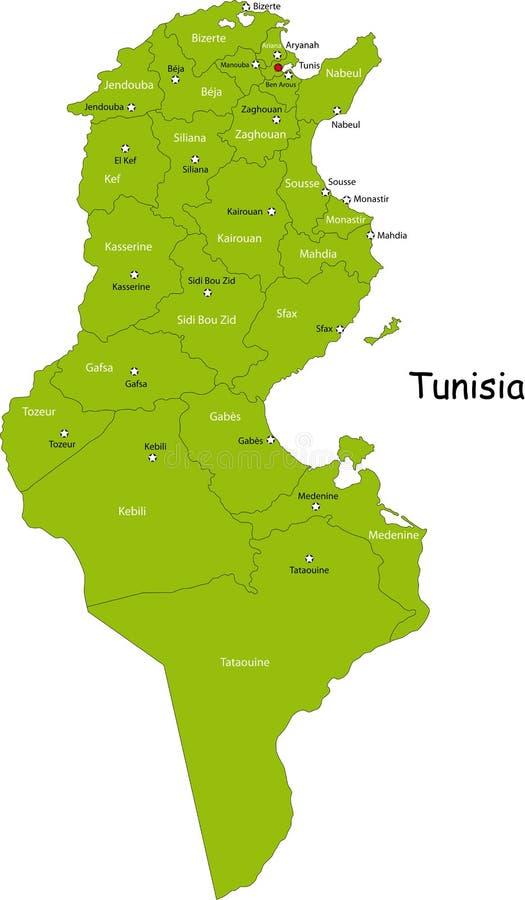 Tunezja mapa ilustracji