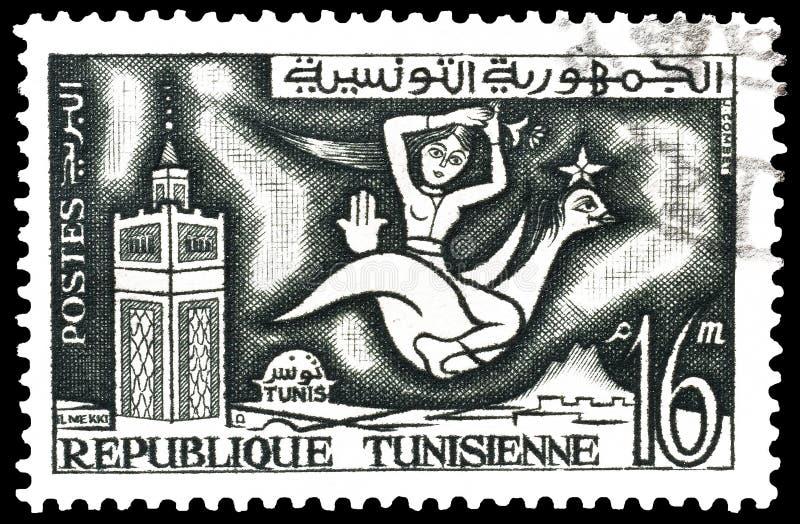 Tunezja na znaczkach pocztowych obraz royalty free