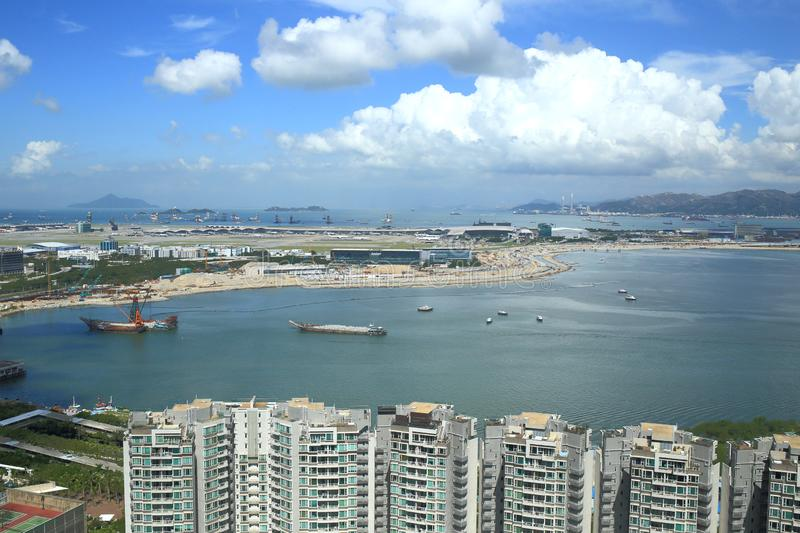 Tung Chung bay and Hong Kong airport stock images