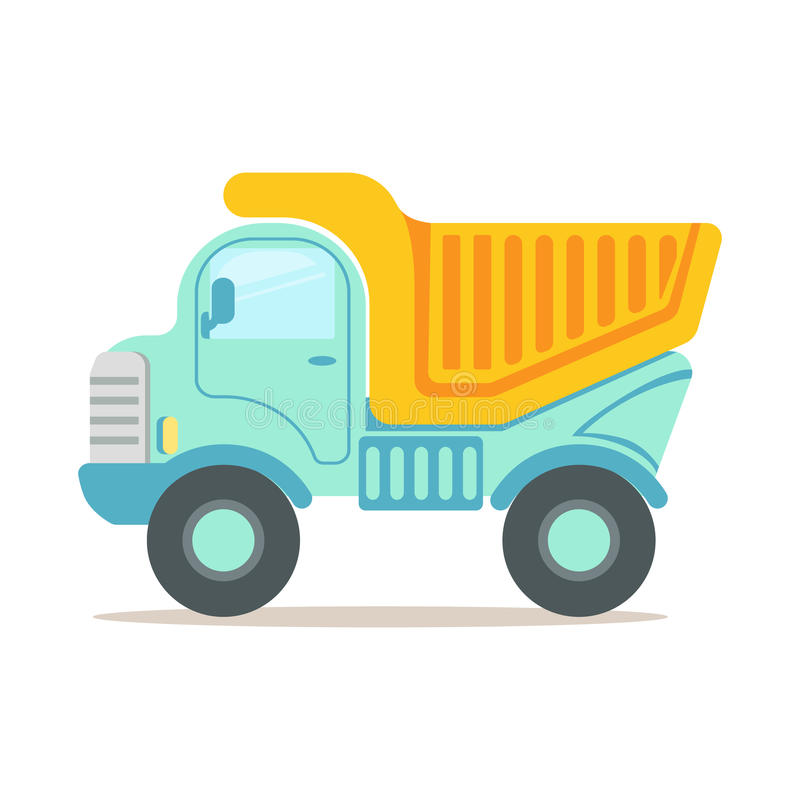 Tung dumper, illustration för vektor för tecknad film för utrustning för konstruktionsmaskineri färgrik royaltyfri illustrationer