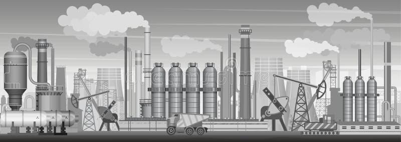 Tung industriell landskapbakgrund för vektor Bransch, fabrik och tillverkning Fabriken fördärvar mot en pittoresk vulkan royaltyfri illustrationer