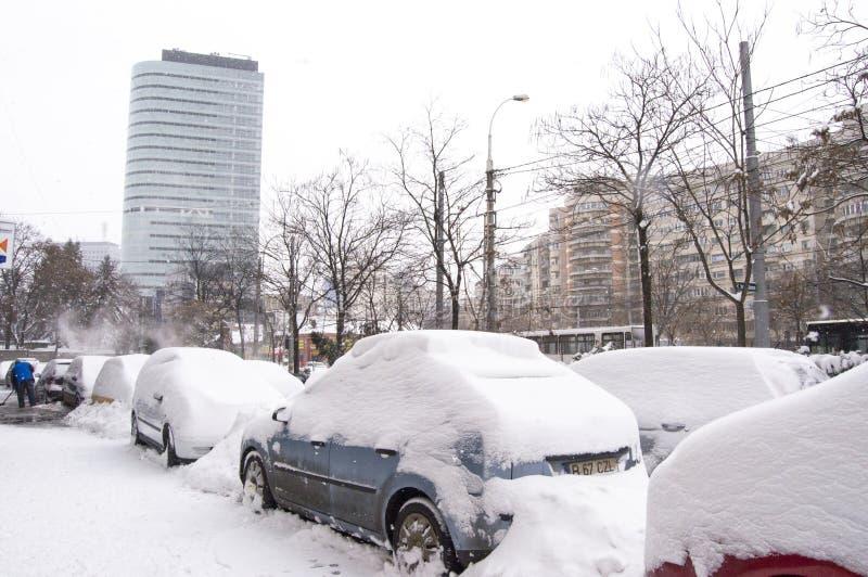tung romania snow under fotografering för bildbyråer