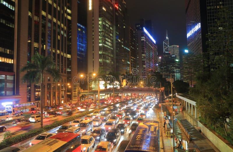 Tung trafikstockning i stadens centrum Hong Kong arkivbilder