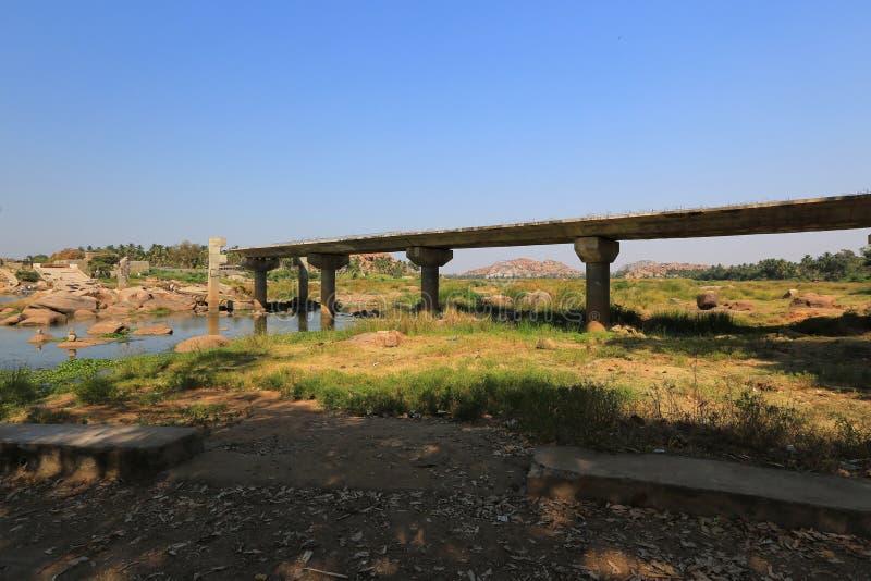 Tungabhadra Hampi rzeczne pobliskie antyczne ruiny, Hampi zdjęcia royalty free