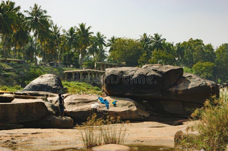 Tungabhadrarivier in Hampi, India royalty-vrije stock foto's