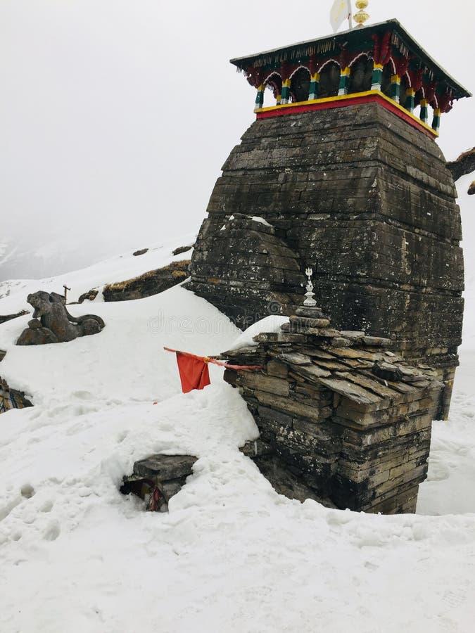 TUNGNATH-de hoogten world& x27 van shivalord gid; s hoogste shivatempel Uttrakhand stock foto