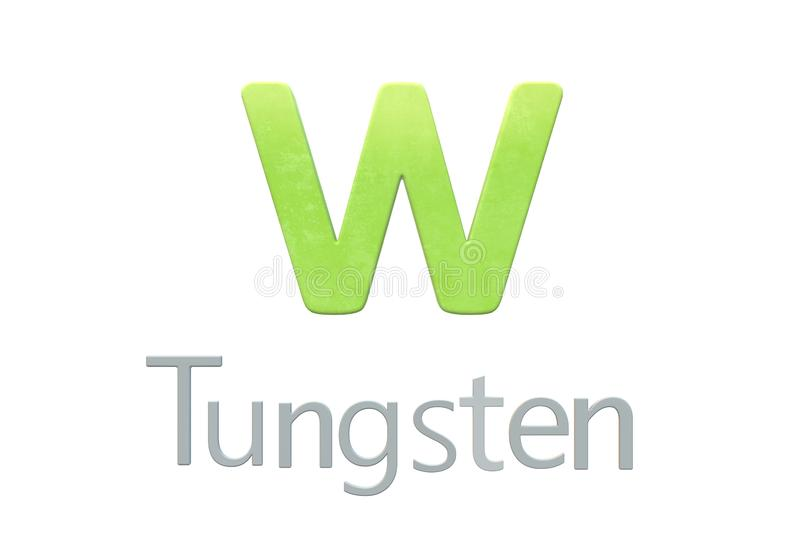 Tungsten chemical symbol as in the periodic table. A computer generated illustration image of the chemical symbol of Tungsten as in the periodic table against a stock illustration