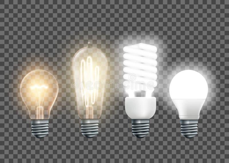 Tungsten, Edison, fluorescent and led light bulbs vector illustration