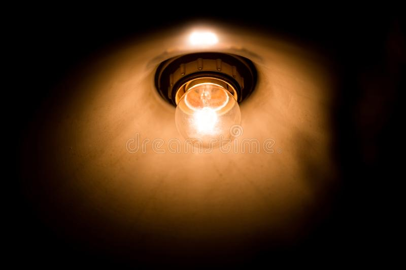 Tungsten lamp bulb, vintage design style stock image