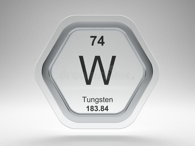 Tungsten symbol hexagon frame stock illustration