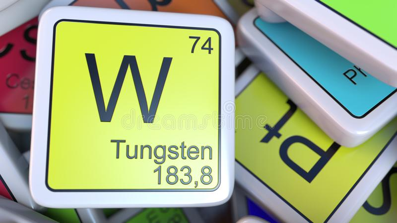 Tungsten W block on the pile of periodic table of the chemical elements blocks. 3D rendering royalty free illustration