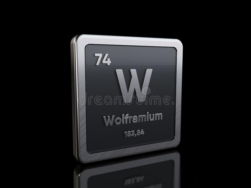 Tungsten W, element symbol from periodic table series vector illustration