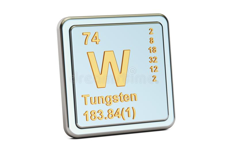 Tungsten W, wolfram chemical element sign. 3D rendering royalty free illustration