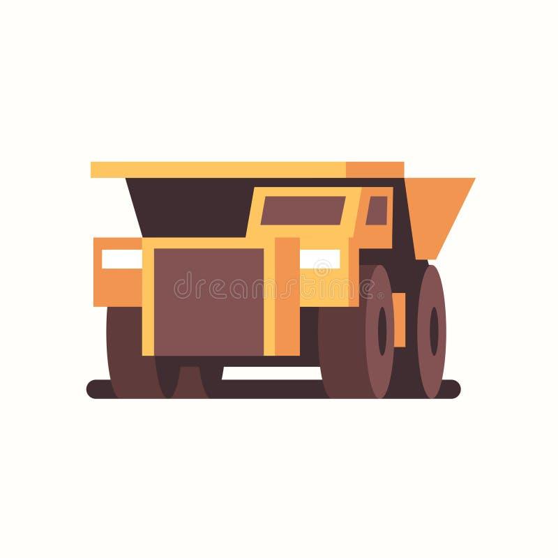 Tungt gult dumper för lastbilsmaskiner Kol för produktion av yrkesutrustning för gruvdrift royaltyfri illustrationer