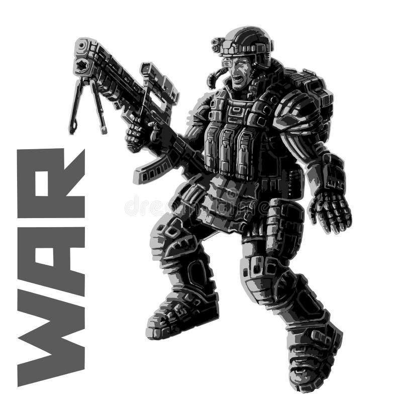 Tungt infanteri i harnesk passar också vektor för coreldrawillustration stock illustrationer