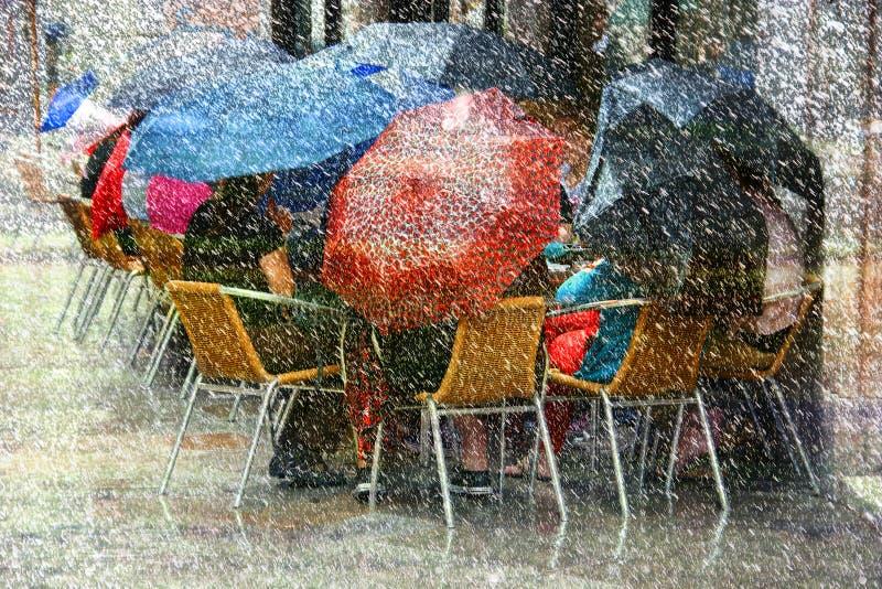 Tungt regn och Snow fotografering för bildbyråer