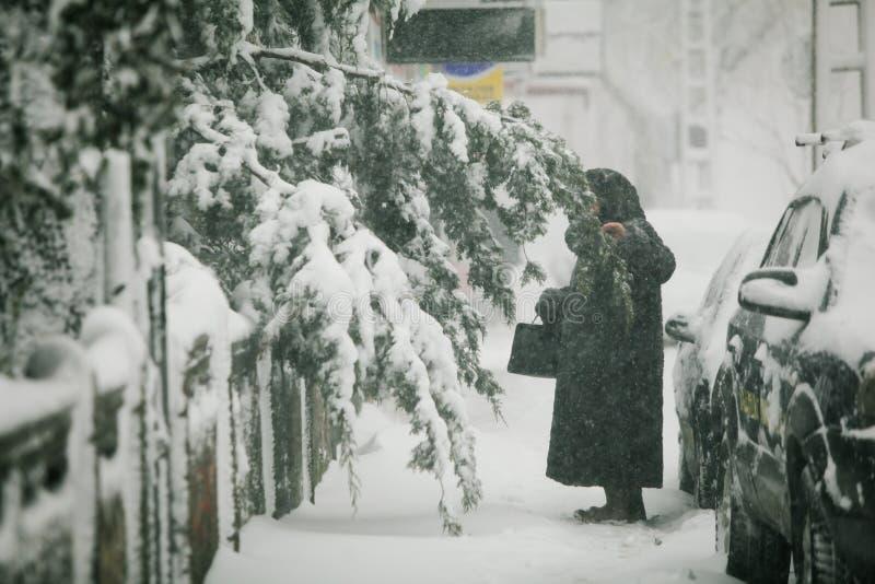 Tungt snöfall över Bucharest, Rumänien arkivfoton