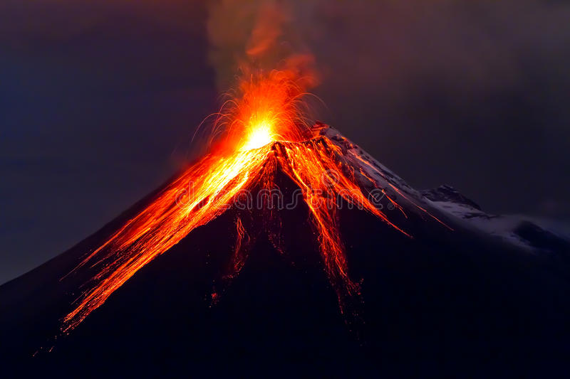Tungurahua Volcano eruption stock photos