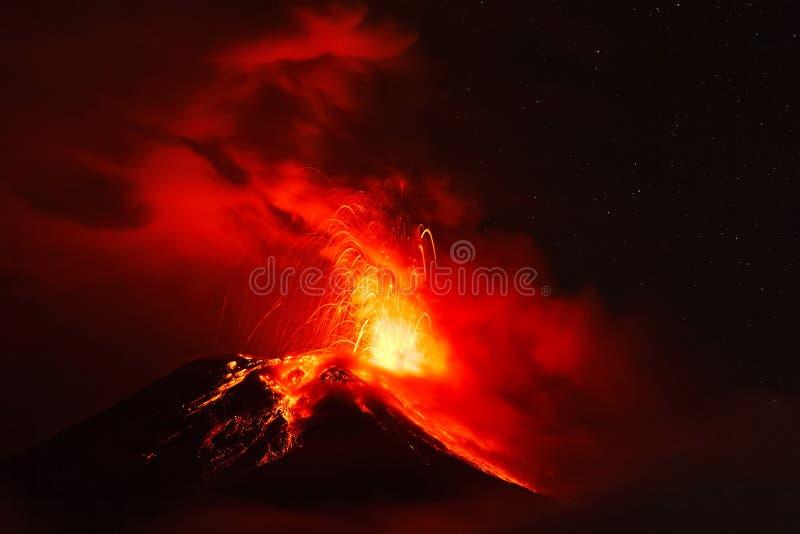 Night Explosion Of Tungurahua Volcano royalty free stock photography